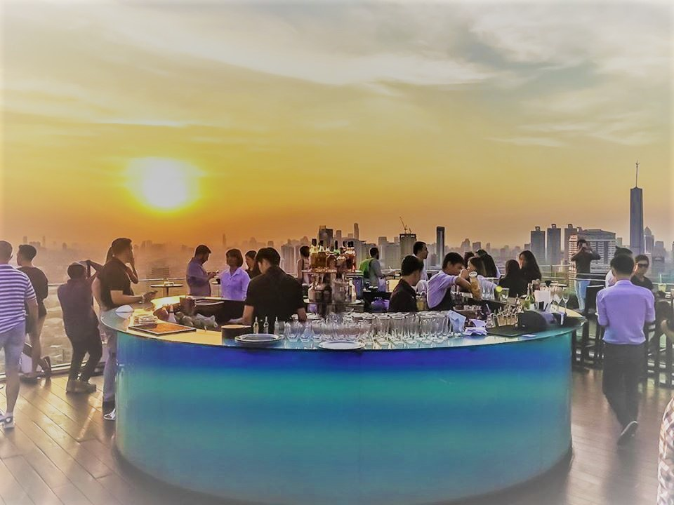 Sunset at octave rooftop bar.
